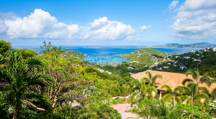 Beautiful view of Saint John in the United States Virgin Islands.