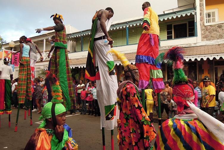 St Kitts: Carnival Stilt Walkers