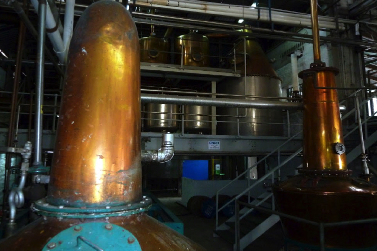 Copper pot distillation of the rum at St Lucia Distillers.