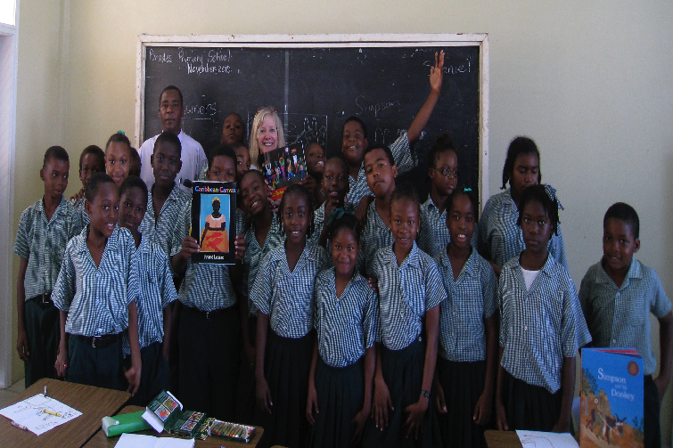 Children's book author and illustrator Frané Lessac on a recent visit to Brades Primary School in Montserrat