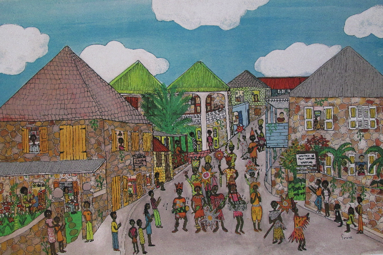 Montserrat Carnival as illustrated by Frané Lessac in My Little Island.