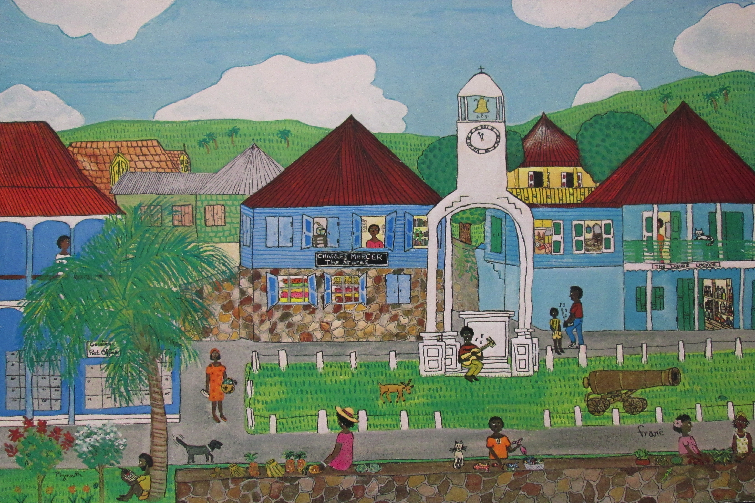 Downtown Montserrat as illustrated by Frane Lessac in My Little Island