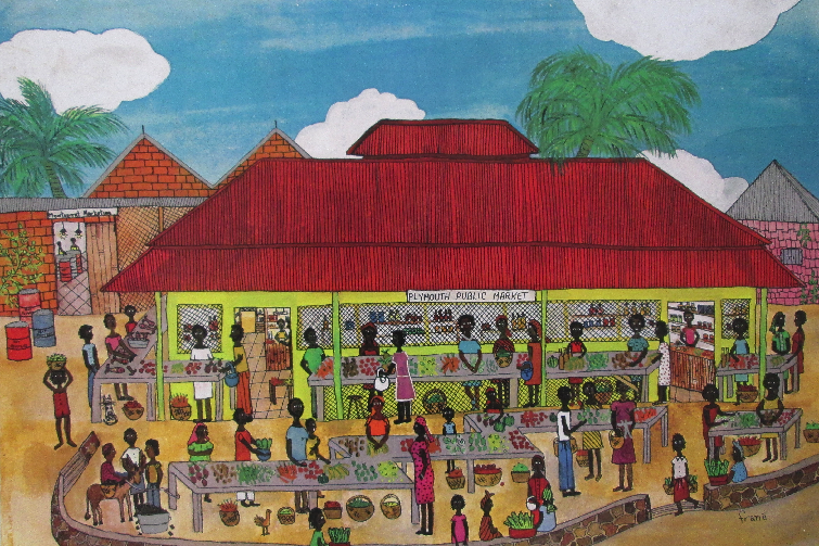 Plymouth Public Market in Montserrat as illustrated by Frané Lessac in My Little Island.