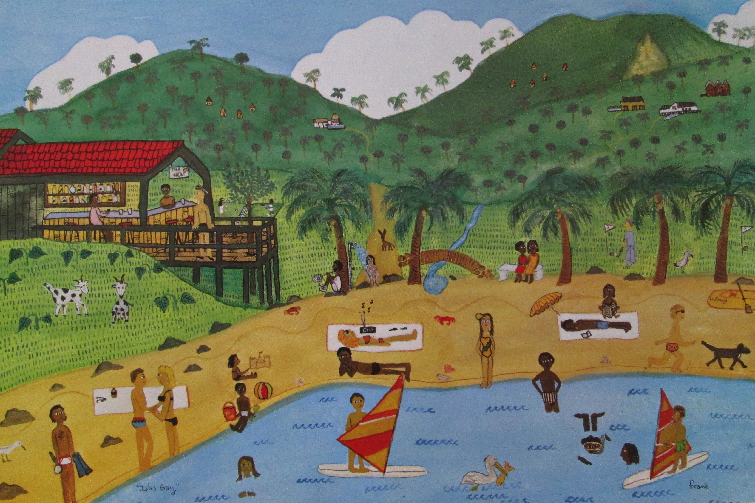 Vue Pointe Hotel and nearby beach in Montserrat as illustrated by Frané Lessac in My Little Island.