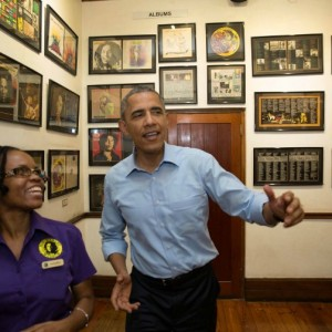 President Obama with Natasha Clark at Bob Marley Museum