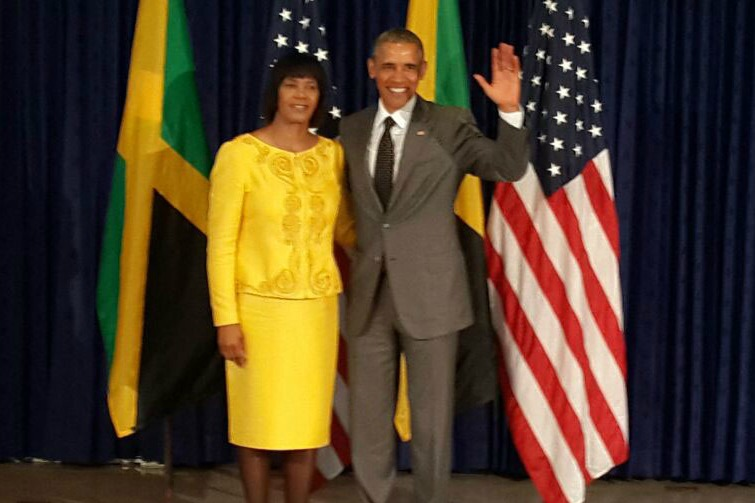 President Obama with Jamaican Prime Minister Portia Simpson Miller
