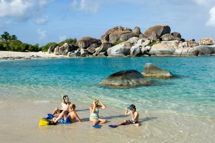 British Virgin Islands: Children enjoying The Baths