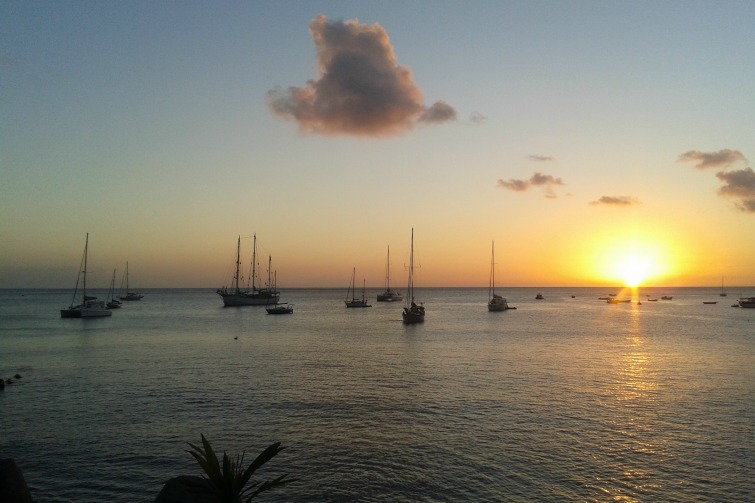 Yachts moored at Little Bay, Montserrat