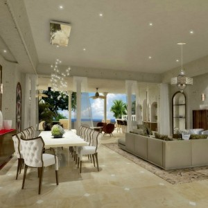 Barbados: Palazzate, a 75,000 sq ft luxury beachfront mansion - living room.