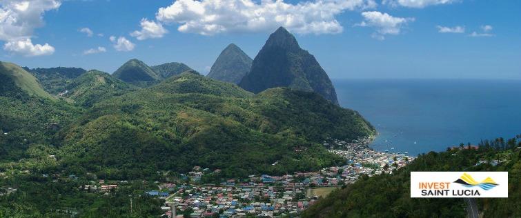 Saint Lucia - Aerial View - Piton Mountains