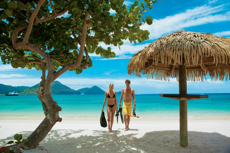 Sandals Resorts - Sandals Grande St. Lucian Snorkeling Beach Couple.