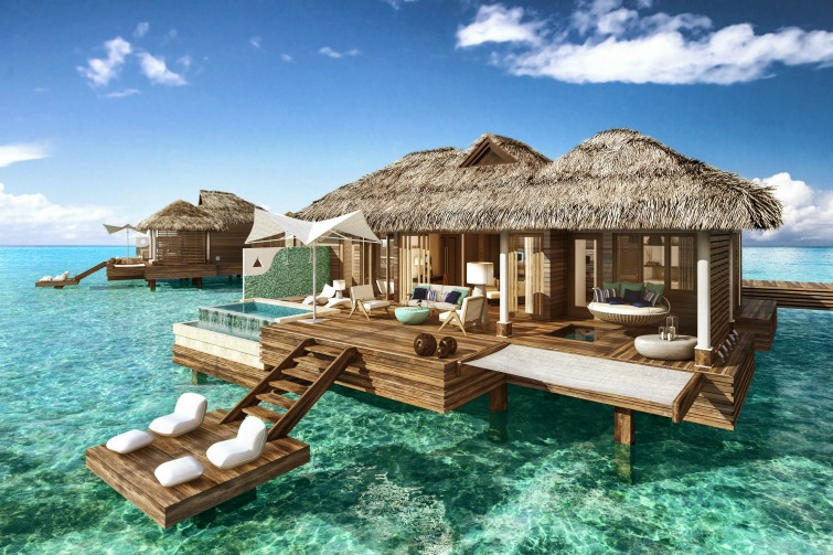 Sandals Royal Caribbean: Overwater Bungalow - Daytime View. Photo Credit: ©Sandals Resorts International.