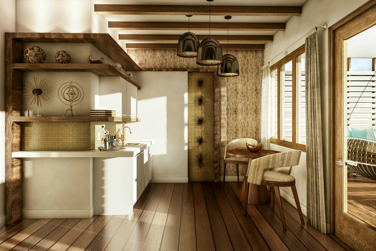 Sandals Royal Caribbean: Overwater Bungalow - Kitchen. Photo Credit: ©Sandals Resorts International.