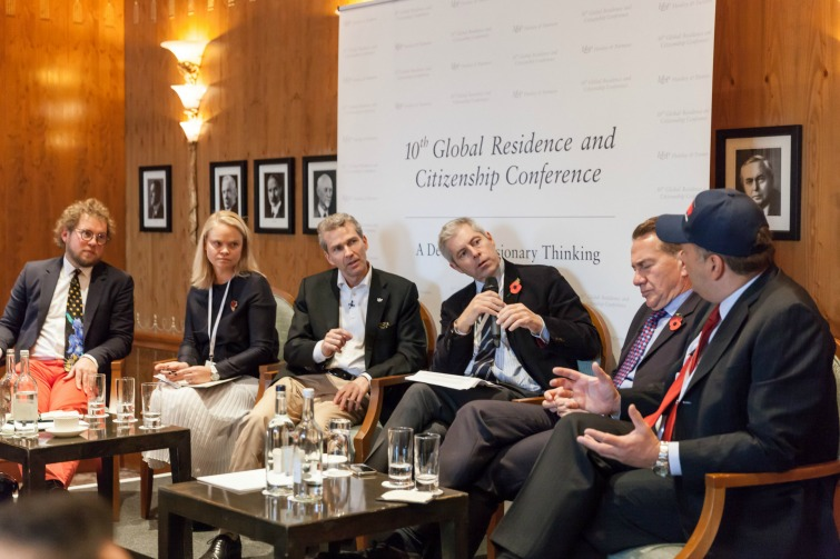 10th Global Residence & Citizenship Conference - Media panel moderated by Justin Webb, BBC Journalist. On his left Dr Christian Kalin, Group Chairman, Henley & Partners and on his right, Rt. Hon. Michael Portillo, Journalist, Broadcaster & Former UK Member of Parliament