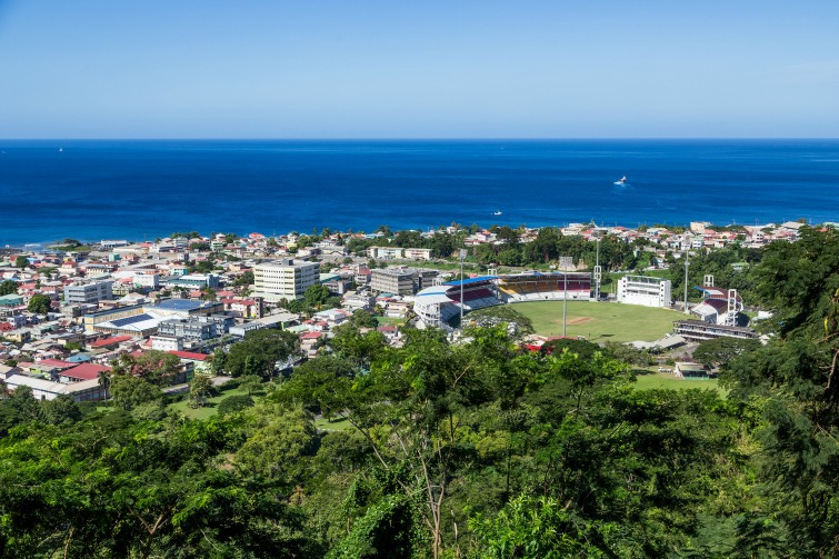 Dominica: View of the capital Roseau from the mountain. Photo Credit: © Dbvirago/Adobe Stock.