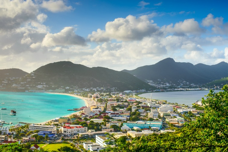 St Maarten: A view of capital Philipsburg from the Great Salt Pond. Photo Credit: © SeanPavonePhoto / Adobe.