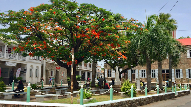 Charlestown Memorial Square in Nevis.