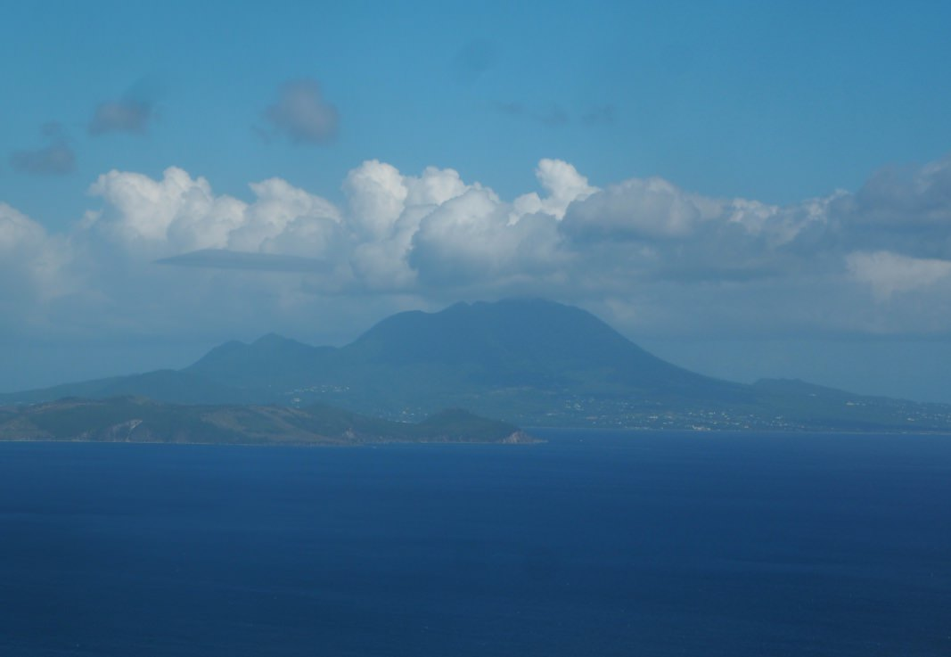 Nevis: A view of Mount Nevis as viewed from the sky