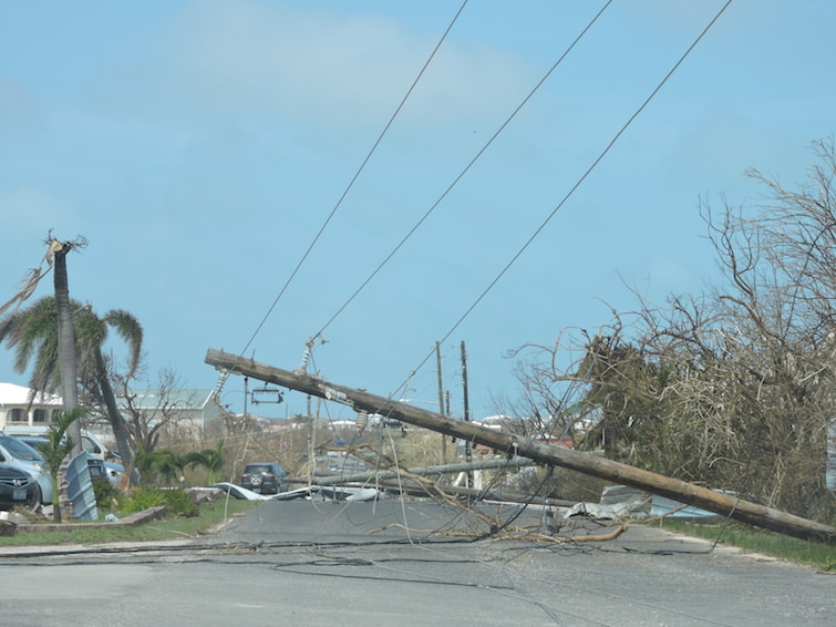 Anguilla: Downed power lines from Hurricane Irma.