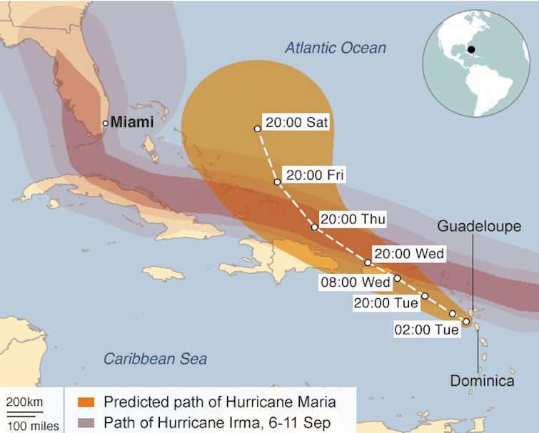Path of Hurricane Irma & Hurricane Maria