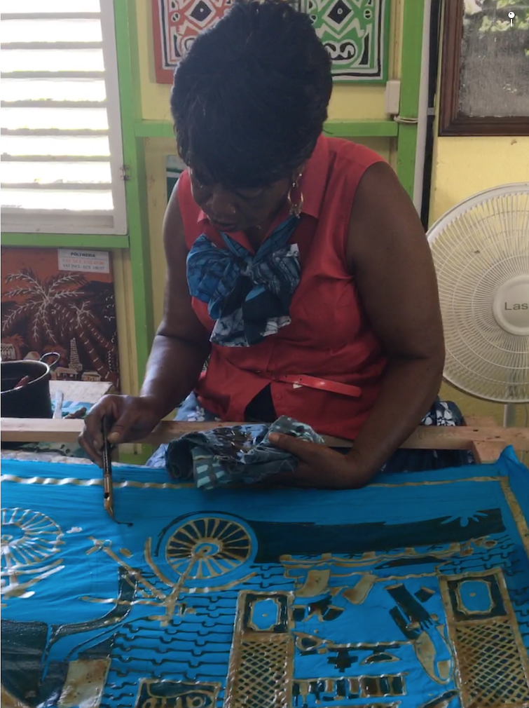 Romney Manor: Caribelle Batik_demonstration of batik process.