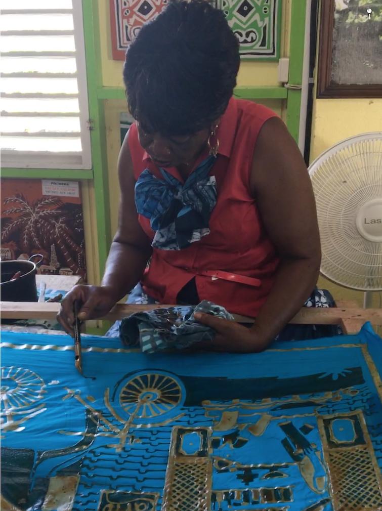 Romney Manor: Caribelle Batik_demonstration of batik process.