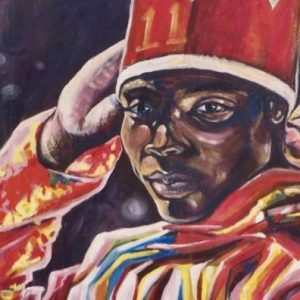 St Kitts: Masquerade Dancer painting by emerging artist Pierre Luburd.