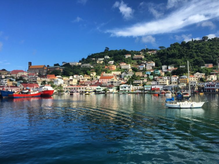 Grenada: View of Carenage, a scenic inlet.
