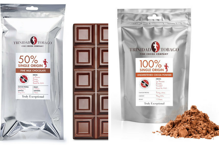 Trinidad & Tobago Fine Cocoa Company - 50% Single Origin Milk Chocolate & 100% Single Origin Unsweetened Cocoa Power.