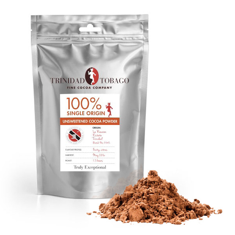 Trinidad & Tobago Fine Cocoa Company: 100% Single Origin Unsweetened Cocoa Powder.