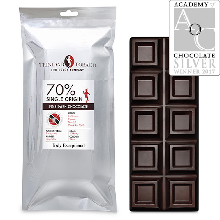 Trinidad & Tobago Fine Cocoa Company: Award winning 70pc Dark 500g Chocolate Bar.