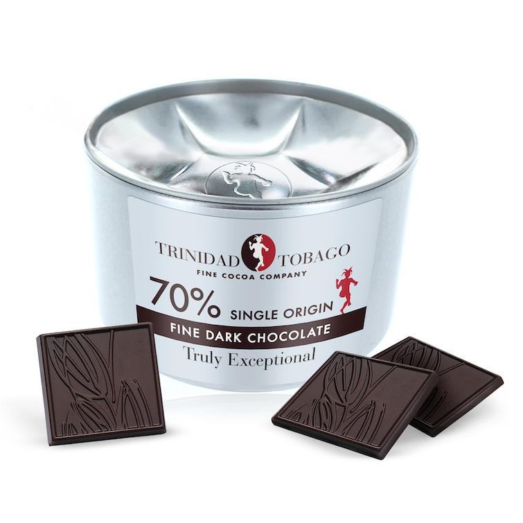 Trinidad & Tobago Fine Cocoa Company_70pc Single Origin Fine Dark Chocolate in Tin.