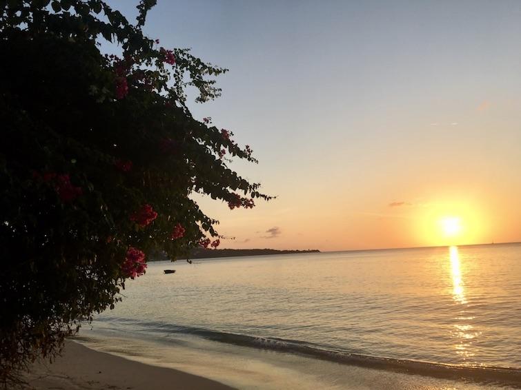 Grenada: Grand Anse Beach at sunset.