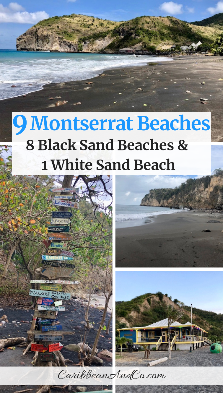 Find out why most Montserrat beaches have mostly grey or black sand and there is one white sand beach on the Emerald Isle of the Caribbean. #BlackSandBeaches #MontserratBeaches #Montserrat #VisitMontserrat