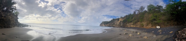 Montserrat black sand beaches: Bunkum Bay Beach panorama view. Photo Credit: © Ursula Petula Barzey.