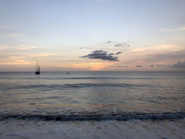 Montserrat black sand beaches: Isle Bay Beach sunset view. Photo Credit: ©Ursula Petula Barzey.