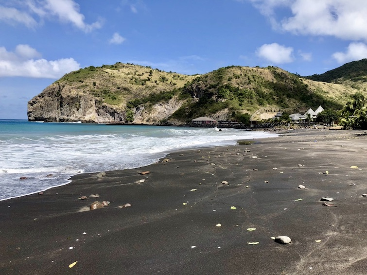 Montserrat black sand beaches: Little Bay Beach black sand. Photo Credit: © Ursula Petula Barzey.
