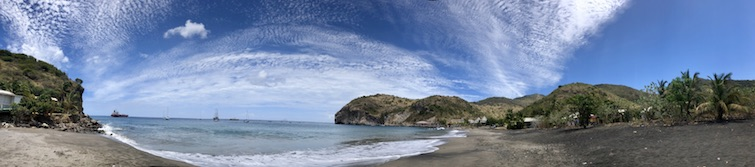 Montserrat black sand beaches: Little Bay Beach panorama view. Photo Credit: © Ursula Petula Barzey.