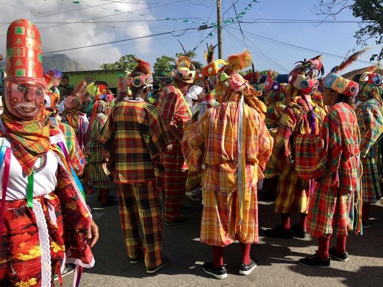 Montserrat: St Patrick's Day Parade_Montserrat & Guadeloupe masquerade dancers. Photo Credit: © Ursula Petula Barzey.