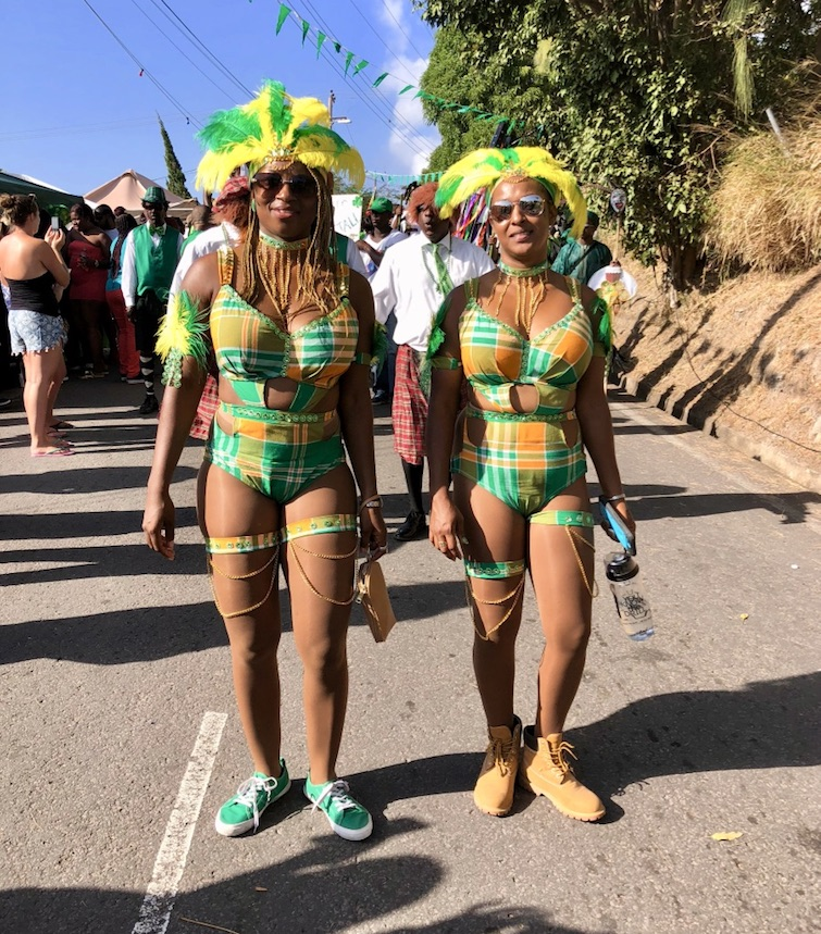 Montserrat: Saint Patrick's Parade -Two young women wearing Montserrat national madras fabric. Photo Credit: © Ursula Petula Barzey.