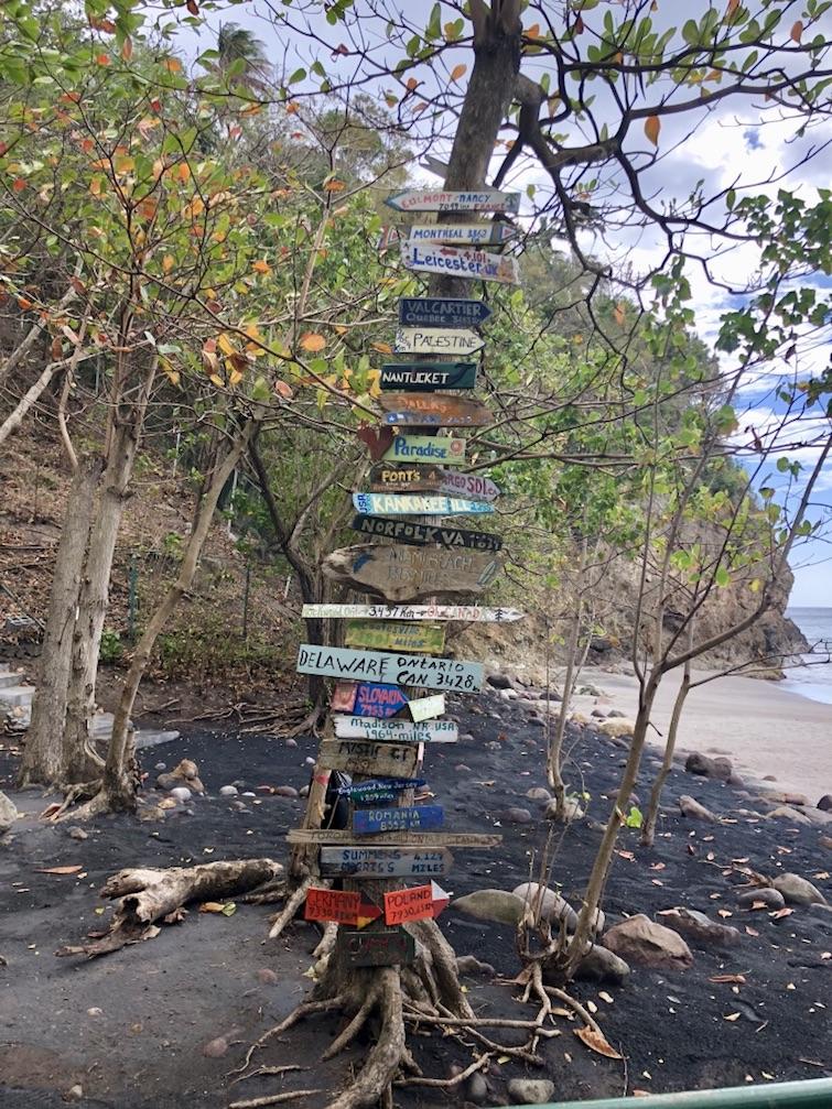 Montserrat: Woodlands Beach directional sign. Photo Credit: © Ursula Petula Barzey.