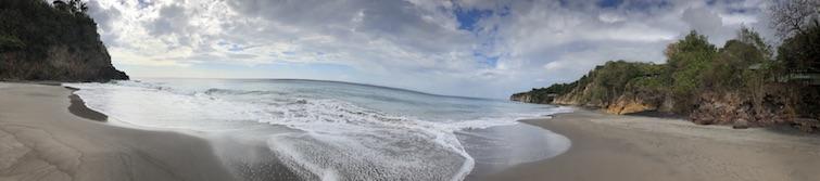 Montserrat black sand beaches: Woodlands Beach panorama view. Photo Credit: © Ursula Petula Barzey.