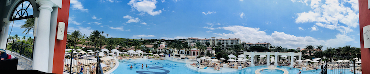 Sandals Grande Antigua Resort & Spa: Panoramic of Mediterranean pool.