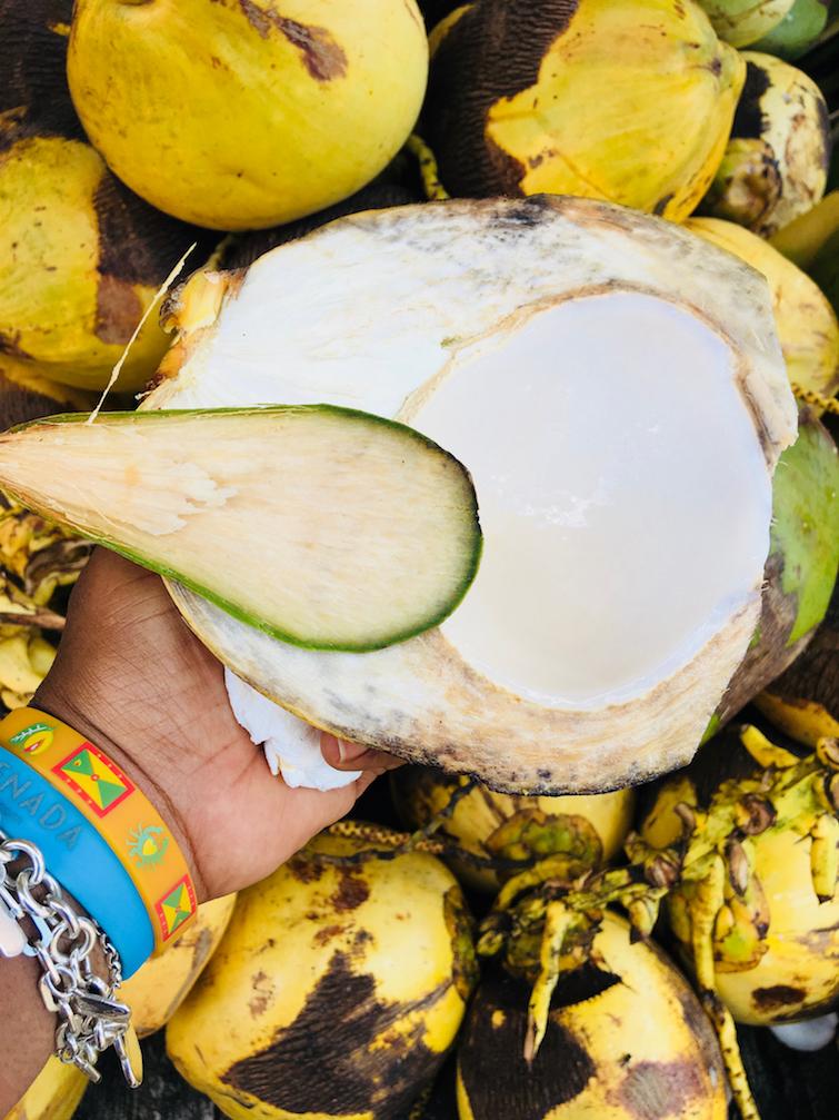 Grenada Spice Market: Coconut Water Stand.