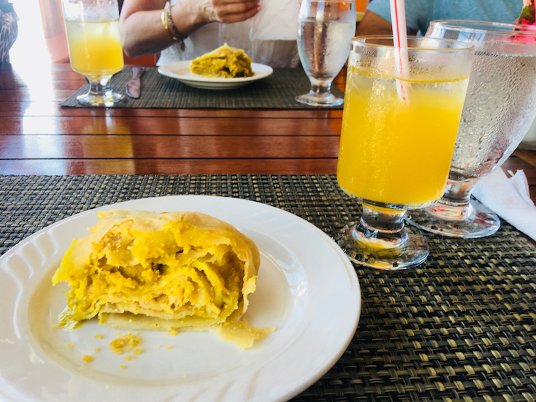 Grenada: Nutmeg Bar & Restaurant - Chicken Roti with Passion Fruit Drink.