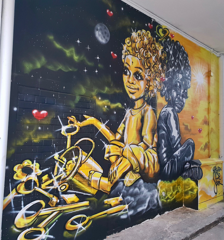 African Caribbean Street Art in London: Mural by Carleen De Sozer titled The Keys Are Within You.