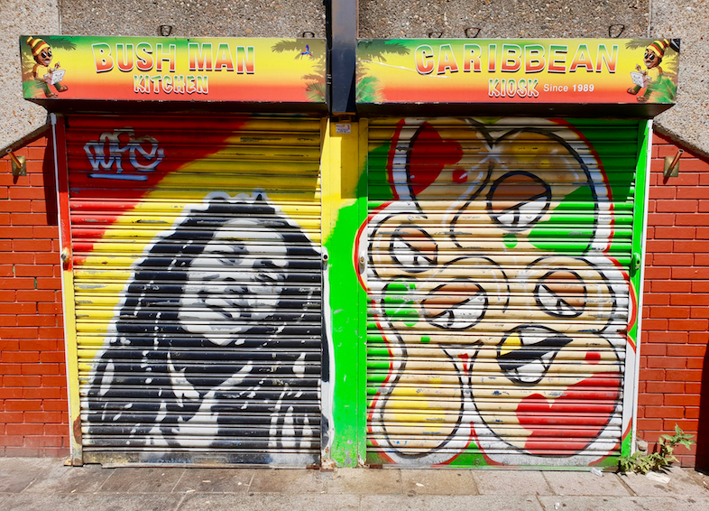 African Caribbean Street Art in London: Dope Mural of Bob Marley.