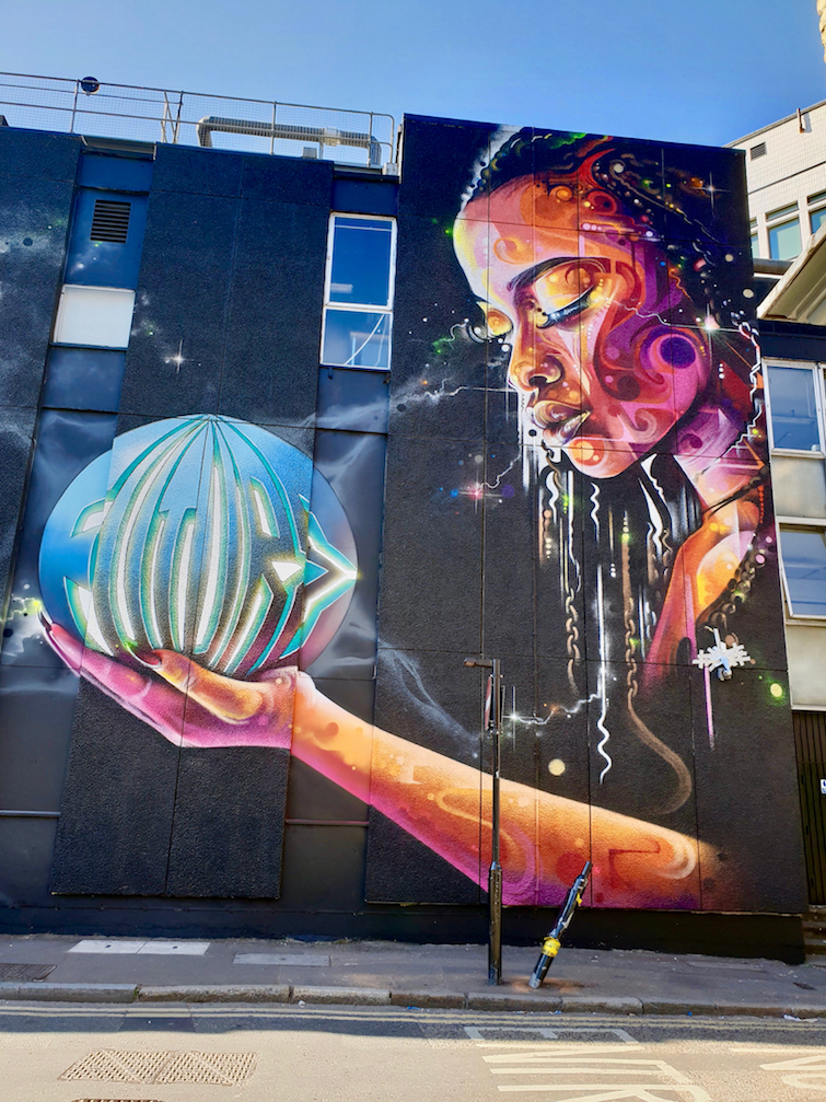 African Caribbean Street Art in London_Mr. Cenz and Love Pusher: Mural titled Feel The Future.