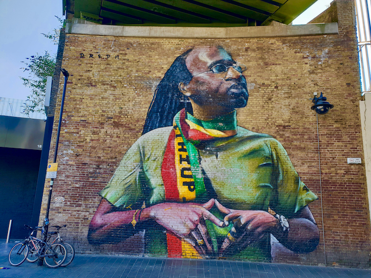 African Caribbean Street Art in London: Neequaye Dreph Dsane: Mural of Michael John in Brixton.