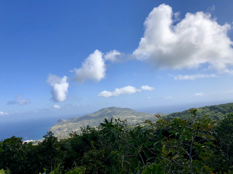 Hiking Montserrat: View from Lawyers Mountain_Little Bay and Silver Hill in the North.